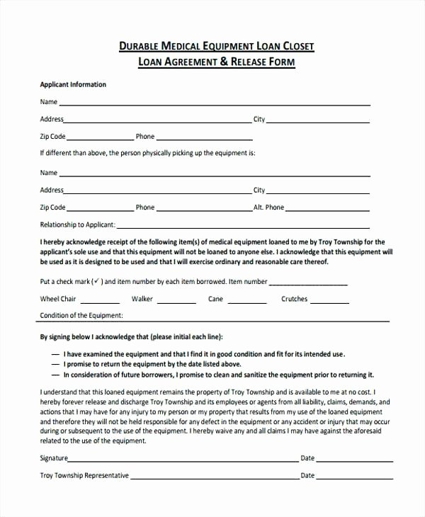 Equipment Loan Agreement Template Inspirational Legal Loan Agreement form Free Printable Will forms