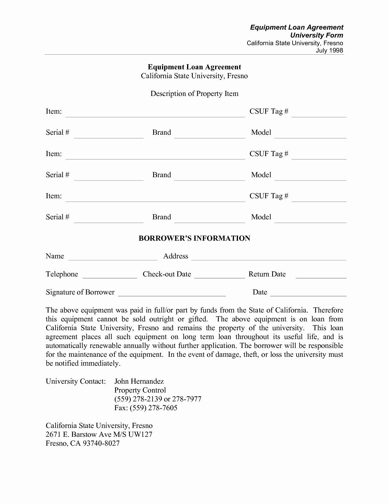 Equipment Loan Agreement Template Luxury Equipment Agreement form Employee