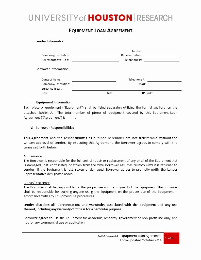 Equipment Loan Agreement Template Luxury Free Loan Equipment Agreement