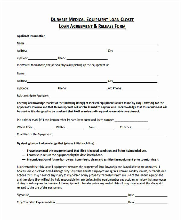 Equipment Loan Agreement Template Unique 40 Printable Loan Agreement forms