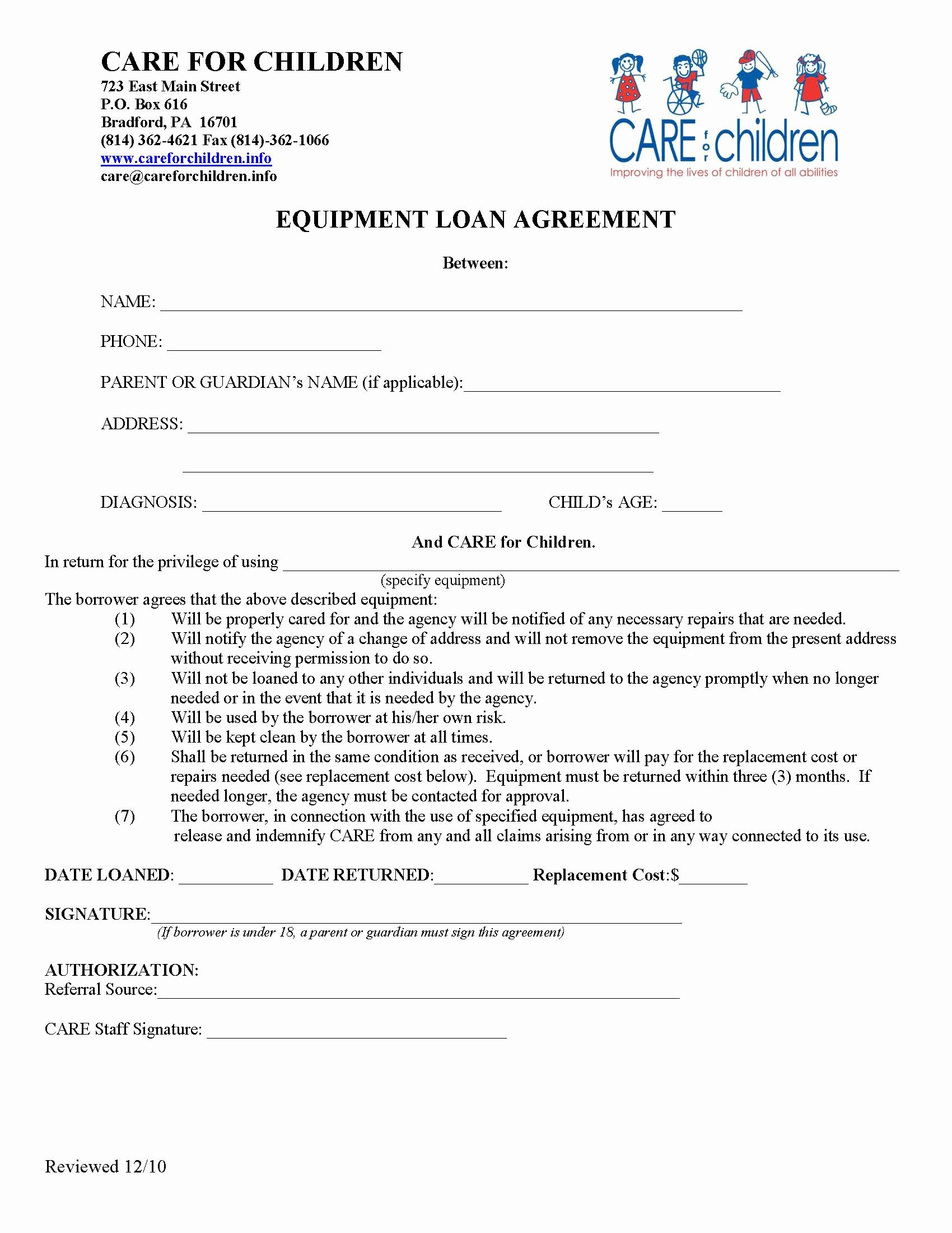 Equipment Loan Agreement Template Unique Verner W Smith Adaptive Equipment Clinic Care for Children