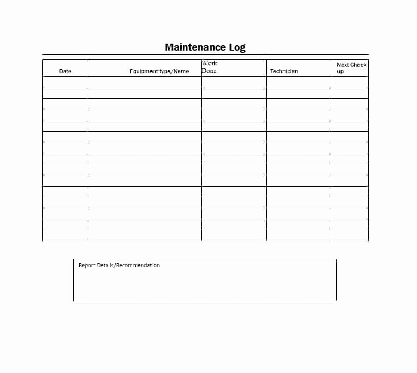 Equipment Maintenance Log Template Awesome 40 Equipment Maintenance Log Templates Template Archive