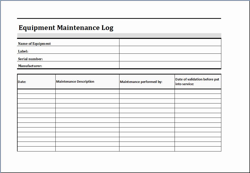 Equipment Maintenance Log Template Beautiful Equipment Maintenance Log