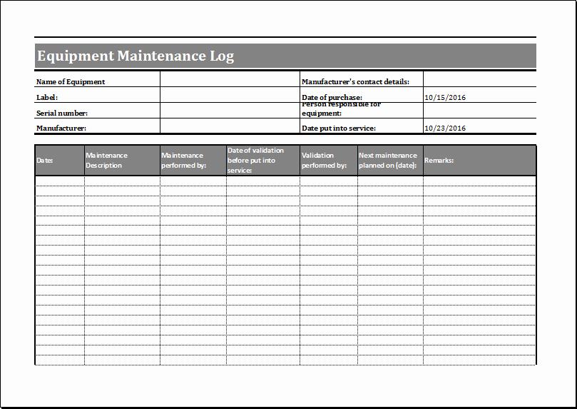 Equipment Maintenance Log Template Beautiful Equipment Maintenance Log Template