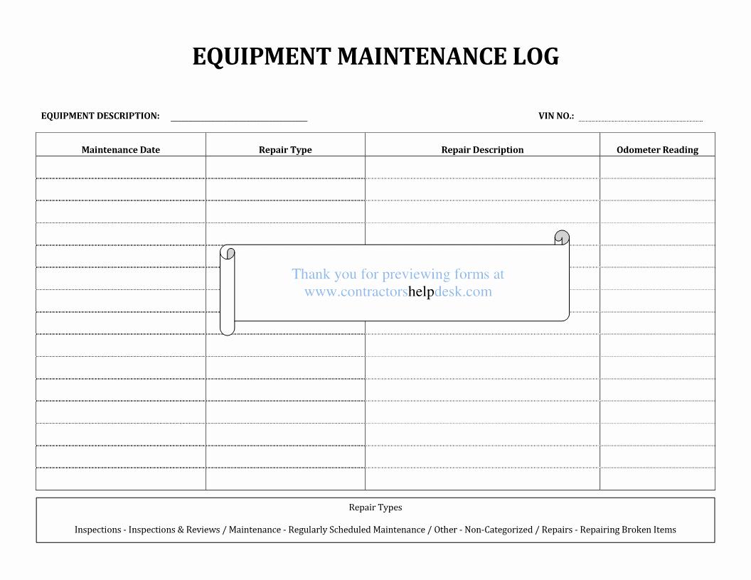 Equipment Maintenance Log Template Best Of Contractors Help Desk forms