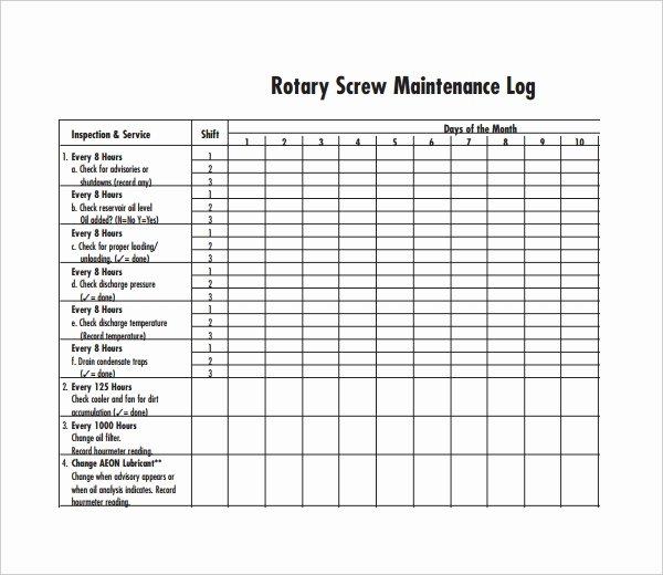 Equipment Maintenance Log Template Best Of Maintenance Log Template 11 Free Word Excel Pdf