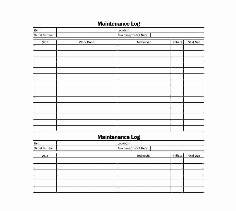 Equipment Maintenance Log Template Fresh 40 Equipment Maintenance Log Templates Template Archive