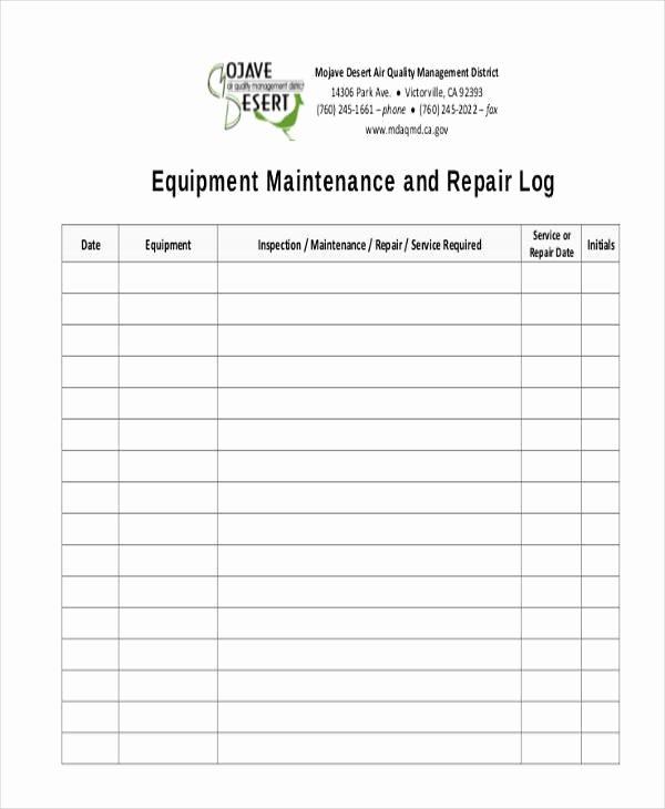 Equipment Maintenance Log Template Inspirational 34 Free Log Sheet Samples & Templates