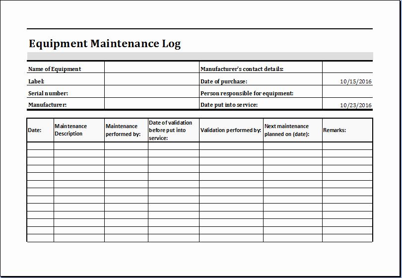 Equipment Maintenance Log Template Lovely Equipment Maintenance Log Template at