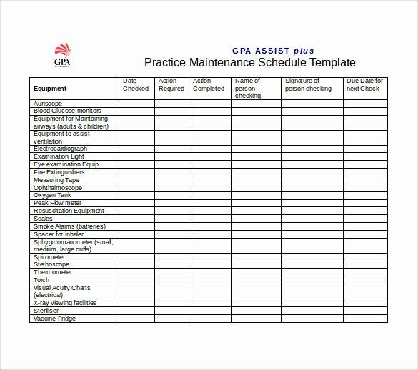 Equipment Maintenance Log Template Unique Equipment Maintenance Schedule Template Excel