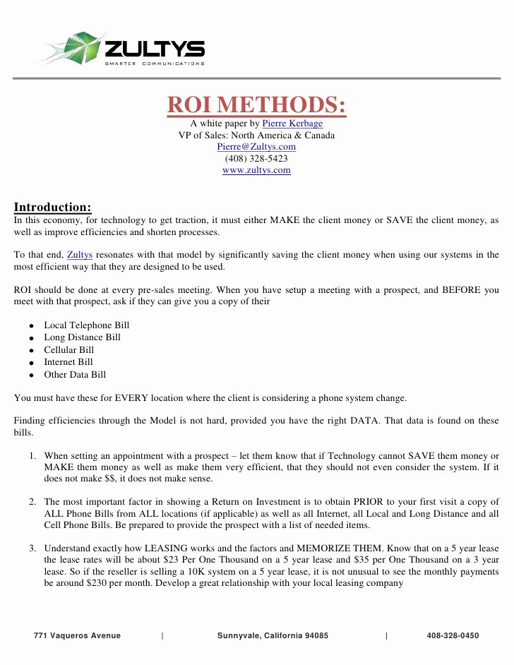 Equipment Purchase Proposal Template Awesome How to Cost Justify A New Voip Phone System
