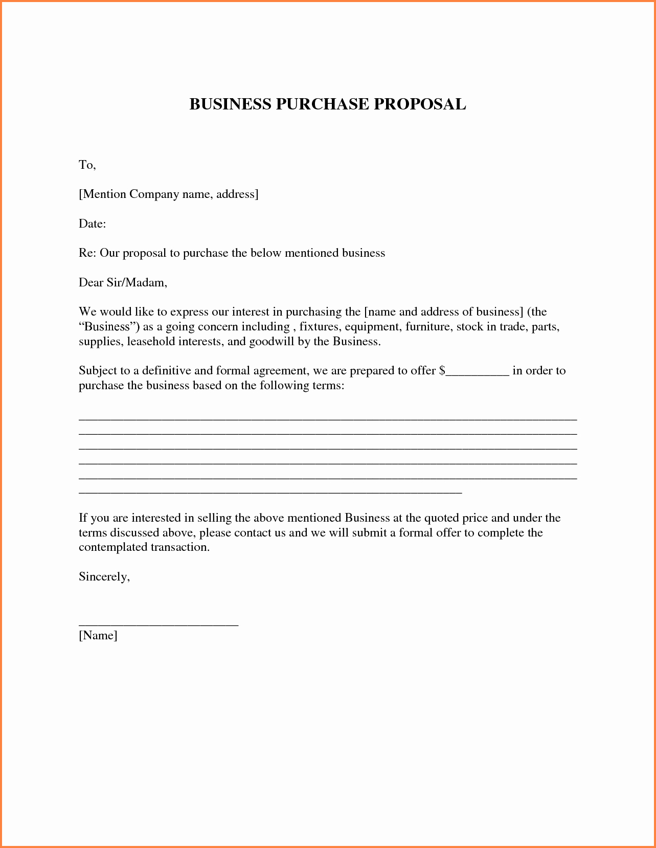 Equipment Purchase Proposal Template Fresh 7 Business Purchase Proposal