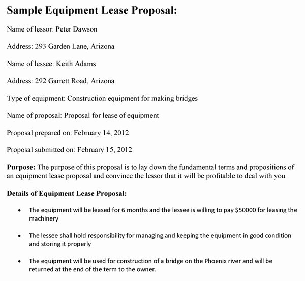 Equipment Purchase Proposal Template Inspirational Equipment Lease Purchase Contract Template Templates