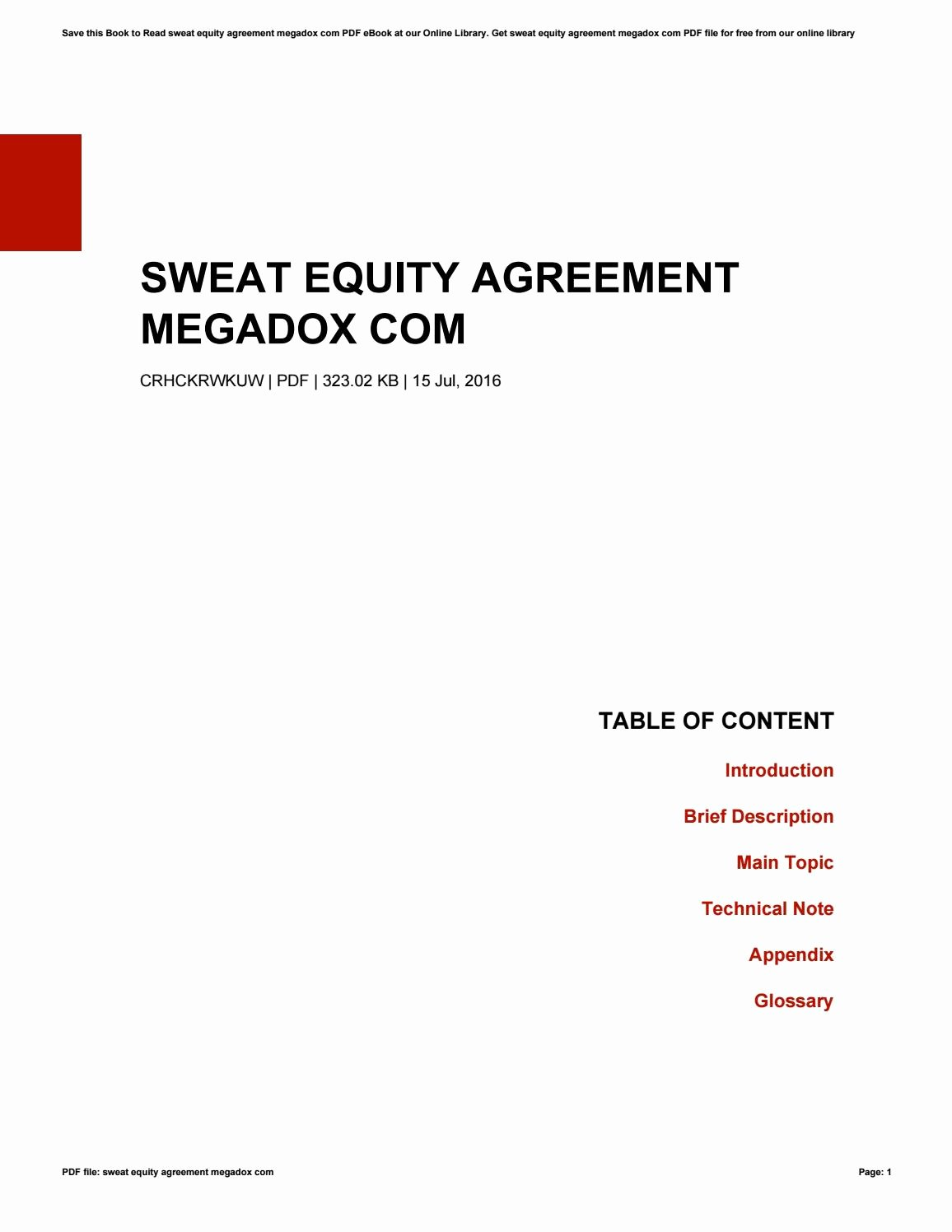 Equity Share Agreement Template Fresh Sweat Equity Agreement Megadox by theresaholford4092