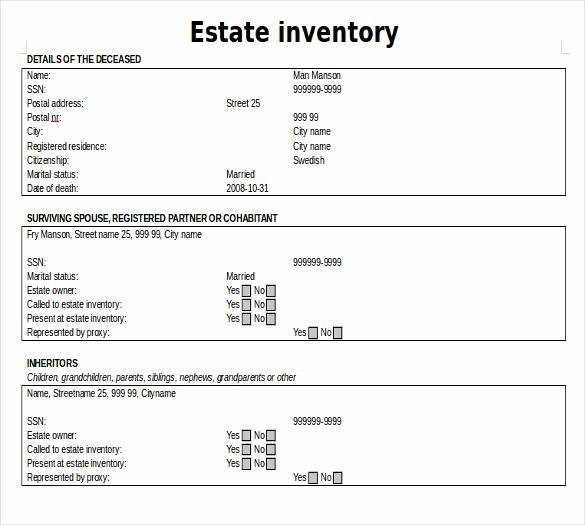 Estate Accounting Excel Template Best Of Estate Inventory Template – 12 Free Word Excel Pdf