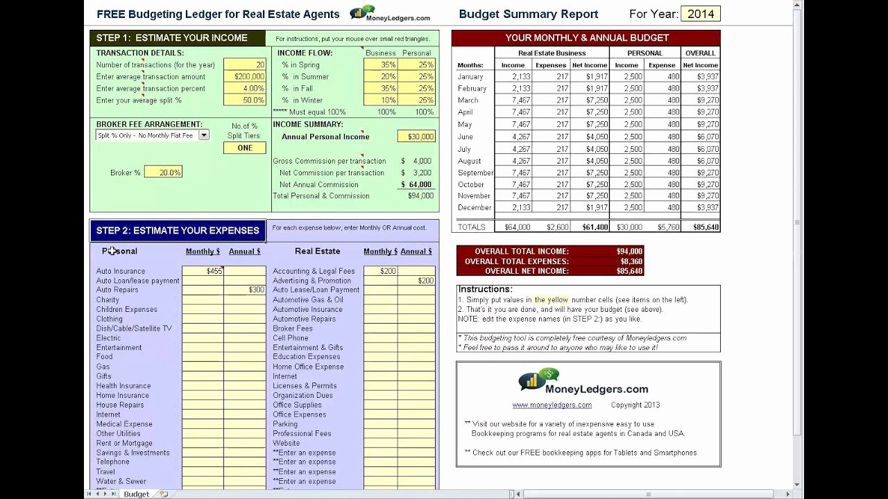 Estate Accounting Excel Template New Free & Simple Bud software for Real Estate Agents