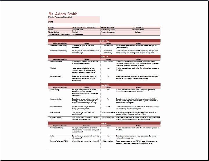 Estate Planning Worksheet Template Lovely Estate Planning Checklist Template