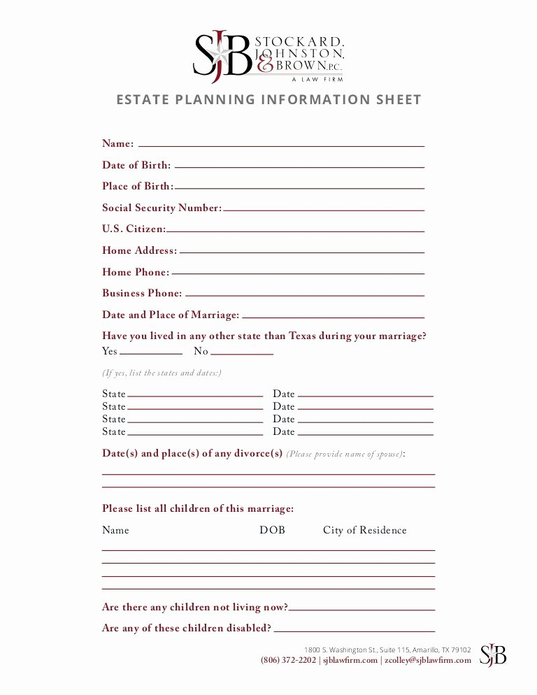 Estate Planning Worksheet Template Luxury 14 Best Estate Planning Worksheet Template