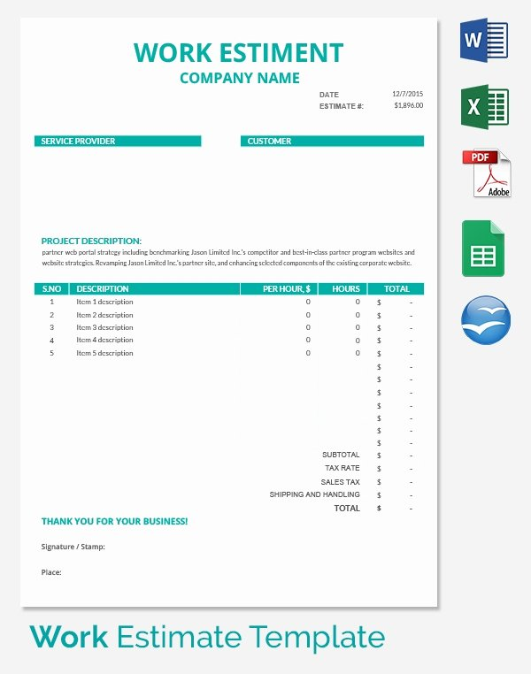 Estimate Template Google Docs New 26 Blank Estimate Templates Pdf Doc Excel Odt