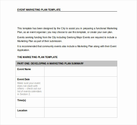 Event Marketing Plan Template Inspirational 33 Word Marketing Plan Templates Free Download