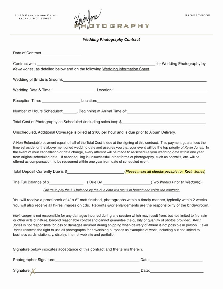 Event Photography Contract Template Elegant Wedding Photography Contract
