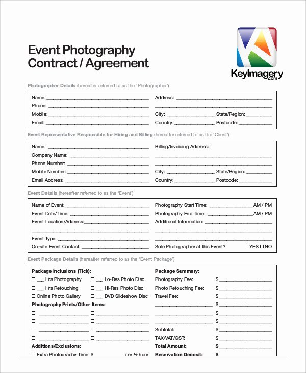 Event Photography Contract Template Fresh 7 Sample event Contract Agreements