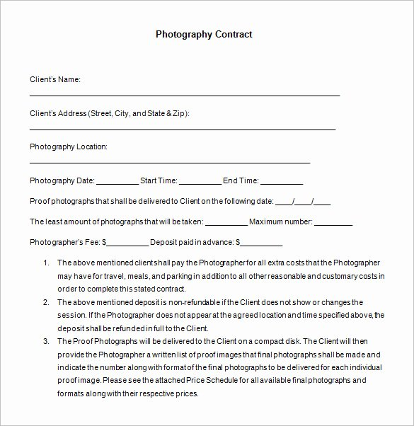Event Photography Contract Template Lovely 7 Mercial Graphy Contract Templates – Free Word