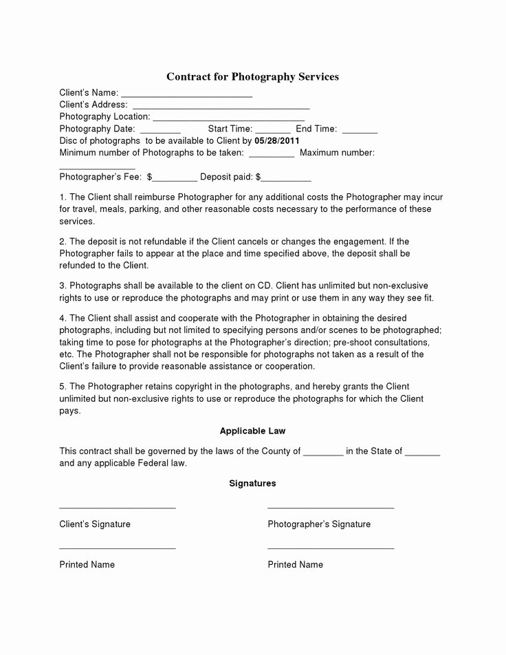 Event Photography Contract Template Lovely Free Printable Wedding Graphy Contract Template form