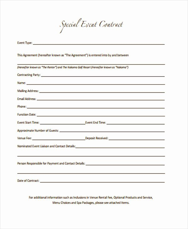 Event Photography Contract Template New 11 event Contract Templates Free Sample Example format