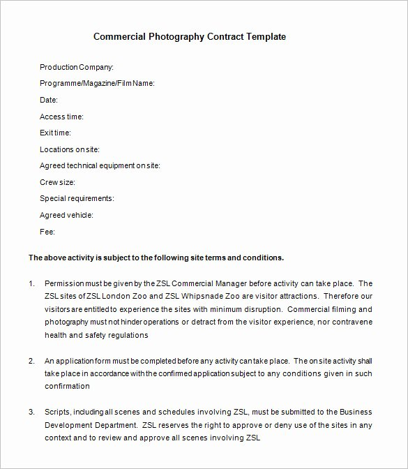 Event Photography Contract Template New 7 Mercial Graphy Contract Templates Free Word