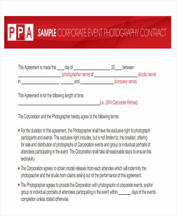 Event Photography Contract Template New 8 Graphy Contract Templates – Free Sample Example