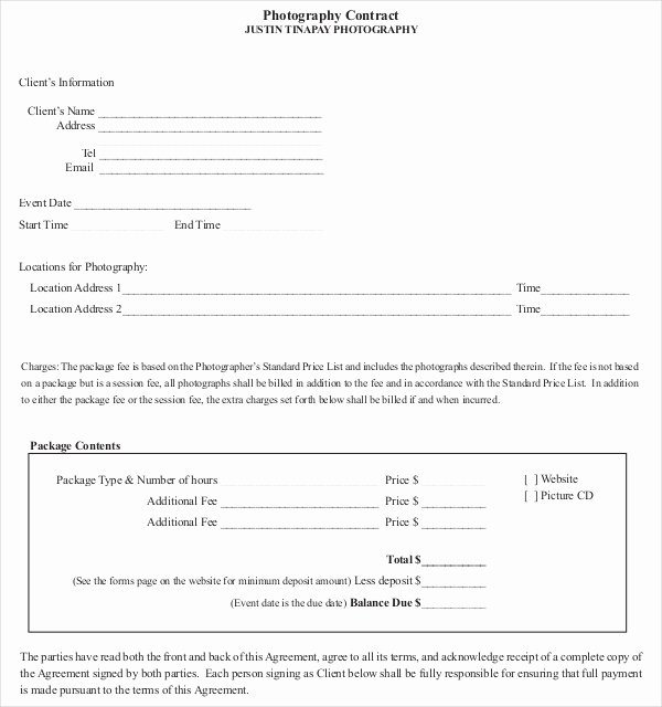 Event Photography Contract Template New Graphy Contract Template – 10 Free Word Pdf