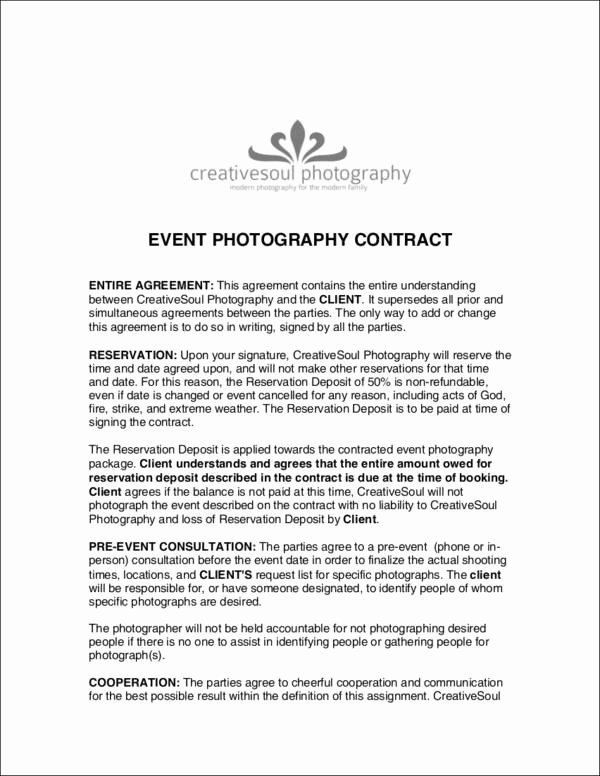Event Photography Contract Template Unique 19 Graphy Contract Templates