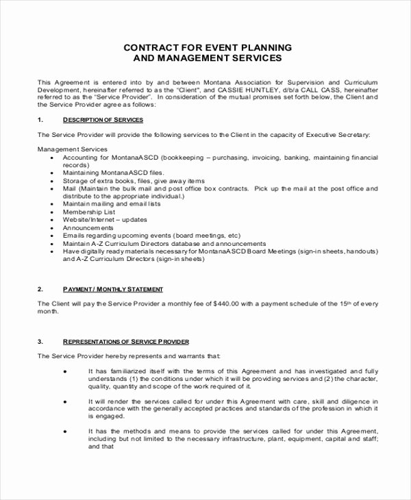 Event Planner Contract Template Awesome 14 event Planner Contract Samples