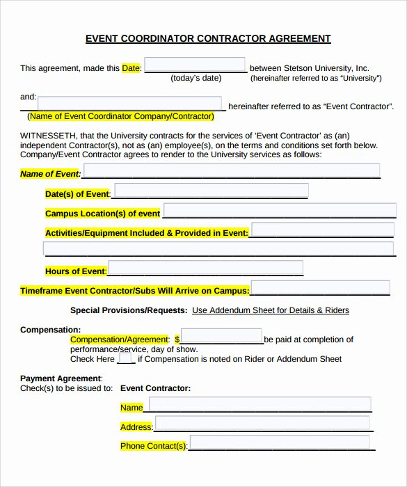 Event Planner Contract Template Awesome 19 event Contract Templates to Download for Free