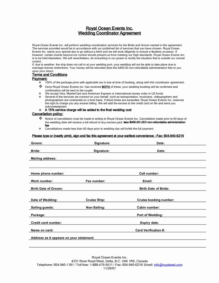 Event Planner Contract Template Best Of Wedding Planner Contract Agreement