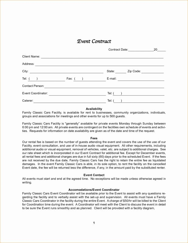Event Planner Contract Template Luxury Wedding Planner Template