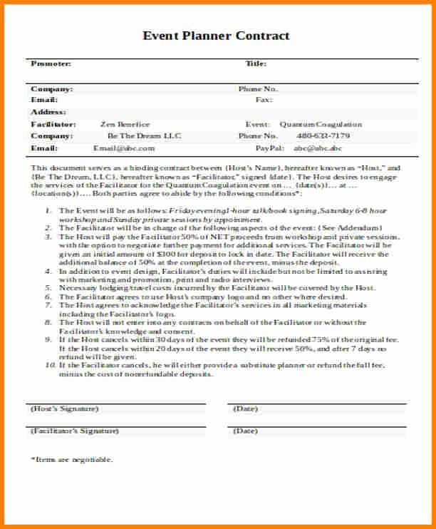 Event Planner Contract Template Unique 10 event Planner Contract Template