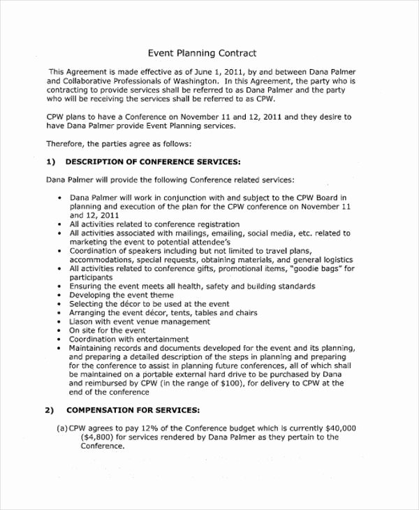 Event Planner Contract Template Unique 11 event Contract Templates Free Sample Example format
