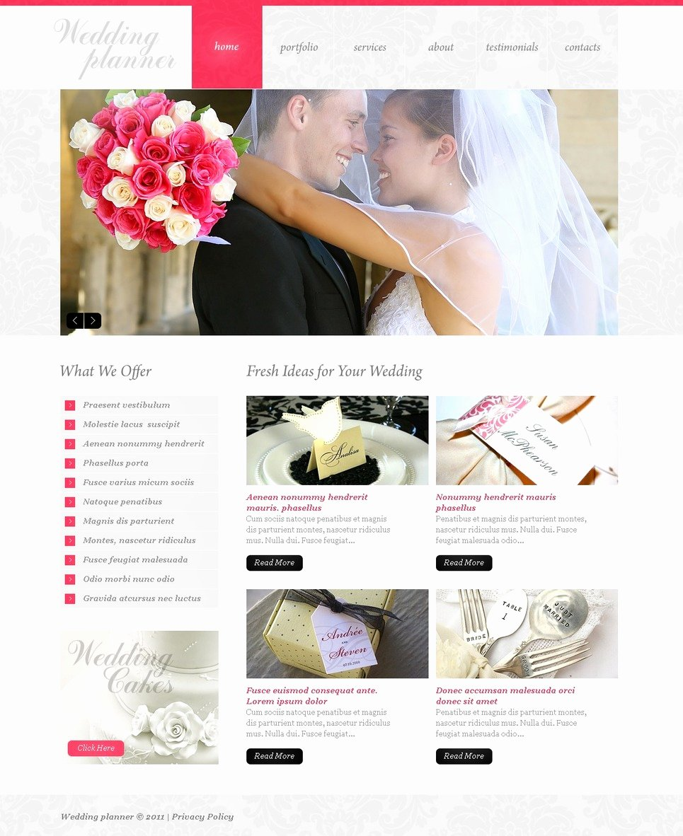 Event Planner Website Template Best Of Wedding Planner Psd Template