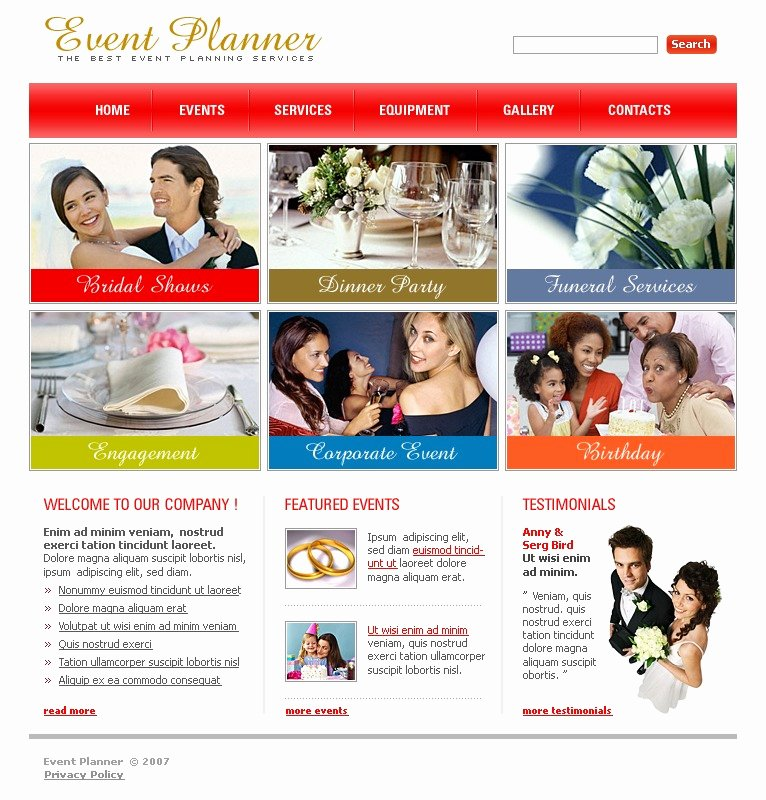 Event Planner Website Template Elegant event Planner Website Template