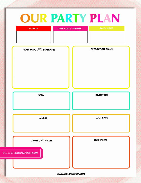 Event Planner Website Template Elegant Free Printable Party Planning Template