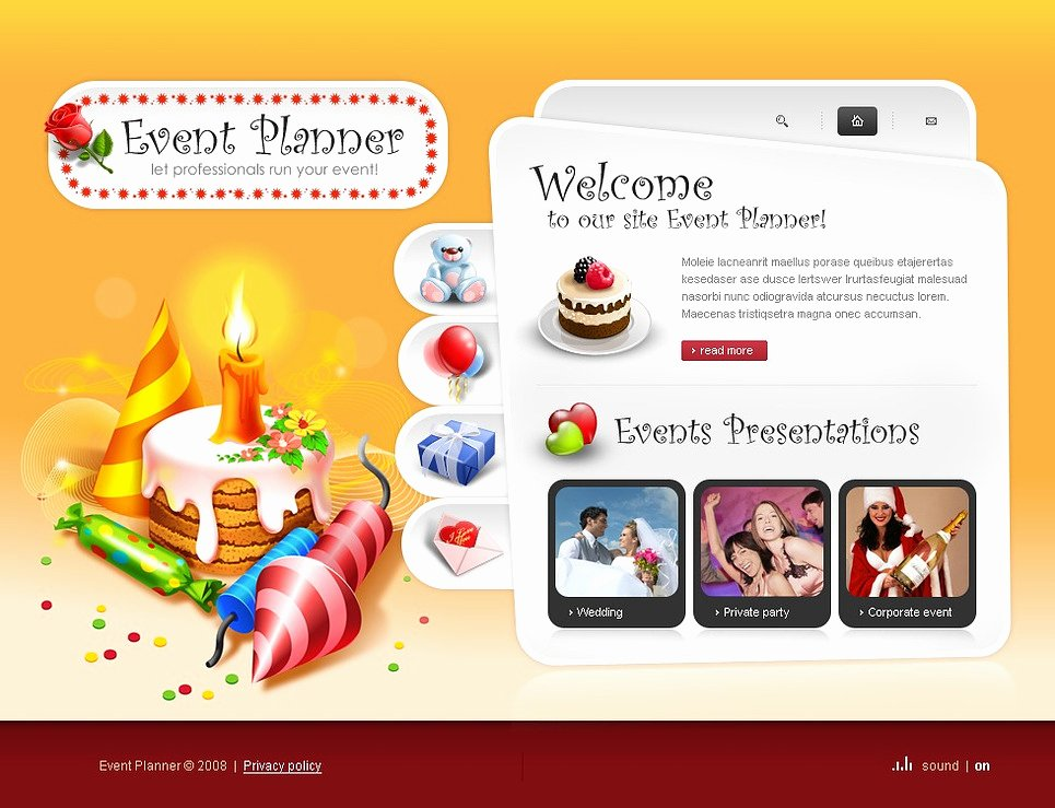 Event Planner Website Template Inspirational event Planner Flash Template