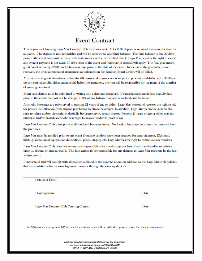 Event Planning Contract Template Beautiful event Contract Lago Mar Country Club