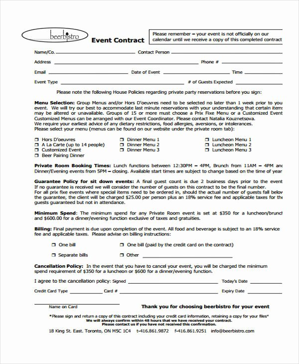 Event Planning Contract Template Lovely 11 event Contract Templates Free Sample Example format