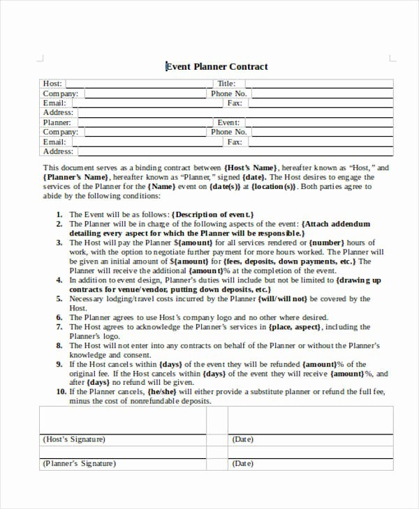 Event Planning Contract Template Luxury 14 event Planner Contract Samples