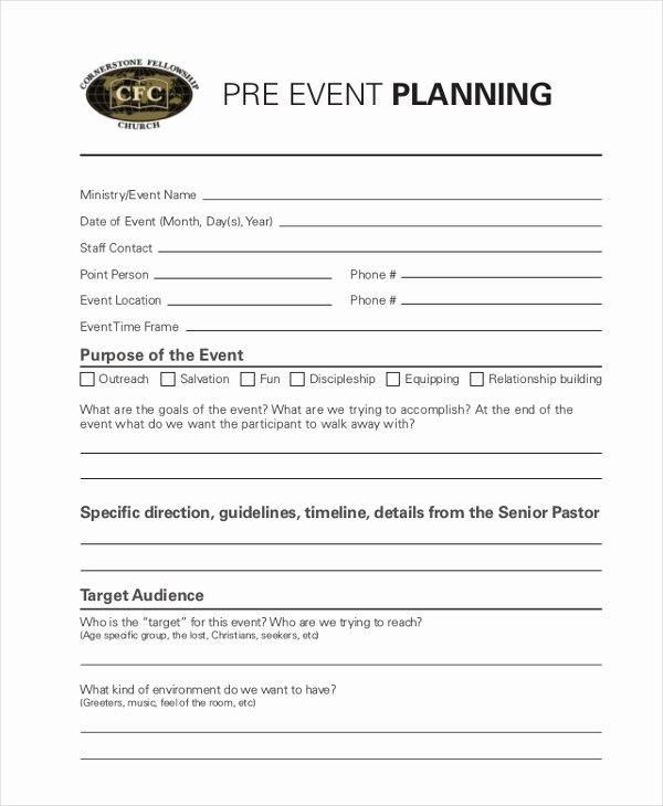 Event Planning form Template Lovely Sample event Planning forms 10 Free Documents In Pdf