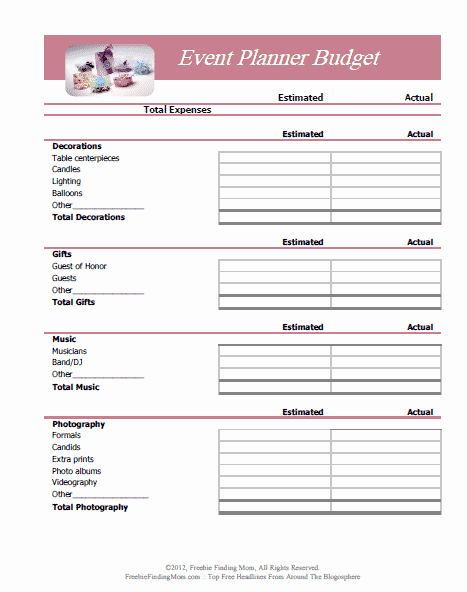Event Planning form Template Luxury Free Printable Bud Worksheets