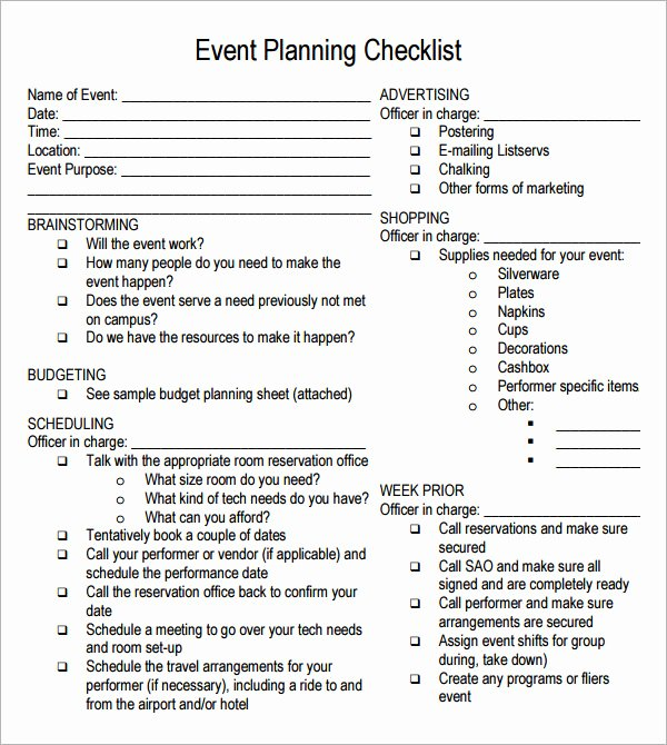 Event Planning Guide Template Inspirational event Planning Checklist 7 Free Download for Pdf