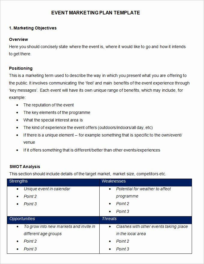 Event Planning Proposal Template New event Marketing Plan Template 11 Free Word Documents